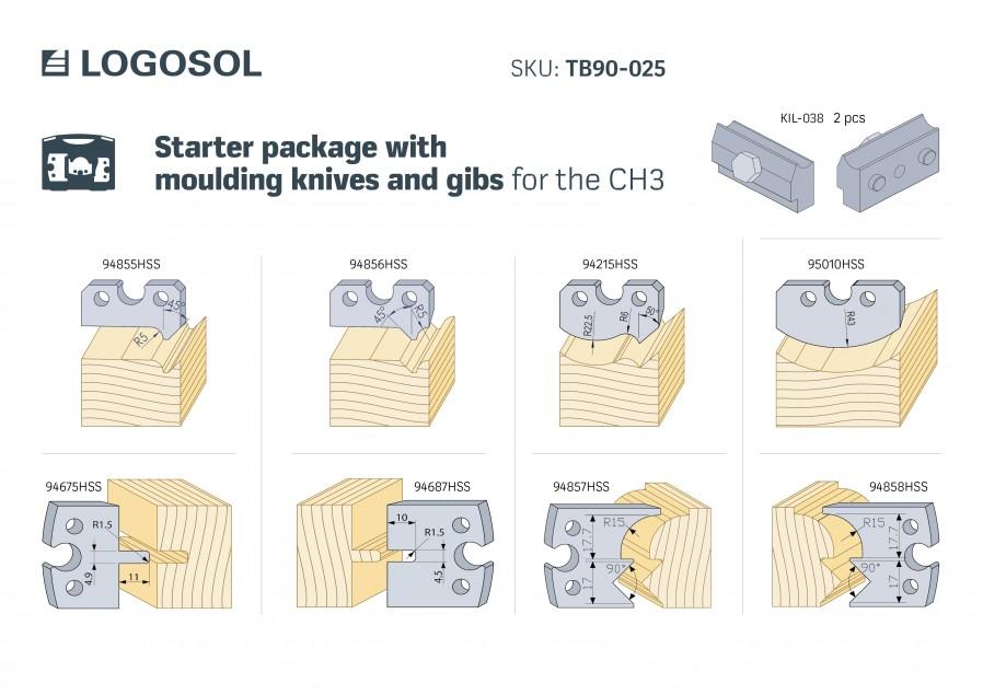 Pakiet startowy noży dla strugarki CH3